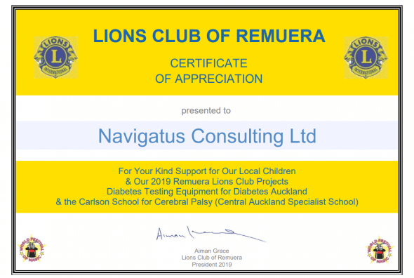 Navigatus proud to continue sponsorship of Lions Club